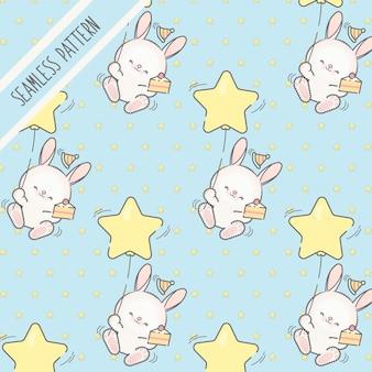 Padrão sem emenda de aniversário de coelhinhos kawaii fofos para crianças