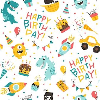 Padrão sem emenda de aniversário de meninos. fundo de doodle de desenho animado festivo em estilo infantil.