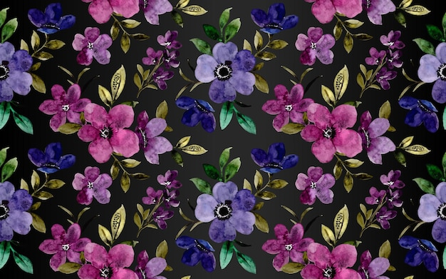 Padrão sem emenda de aquarela flor violeta roxa em fundo escuro