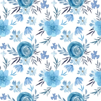 Padrão sem emenda de aquarela floral azul suave
