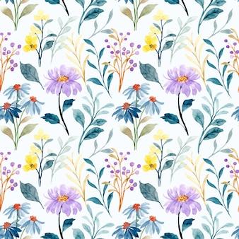 Padrão sem emenda de aquarela floral selvagem azul e roxa