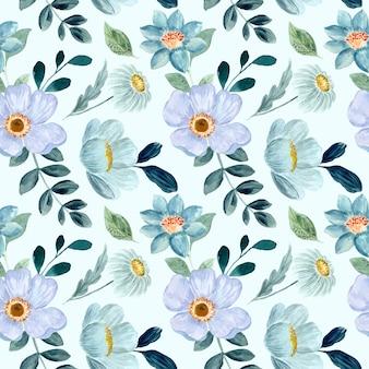 Padrão sem emenda de aquarela floral verde azul