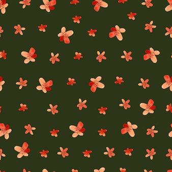 Padrão sem emenda de aquarela flores vermelhas em papel de parede de fundo escuro