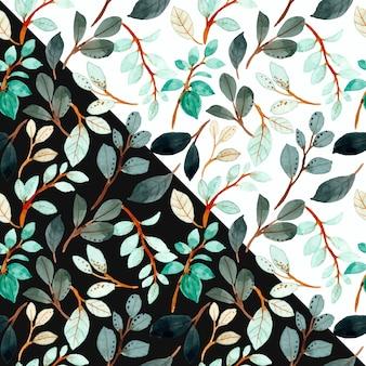 Padrão sem emenda de aquarela folha verde