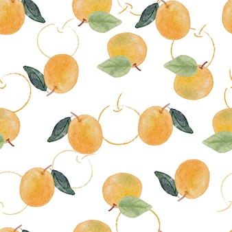 Padrão sem emenda de aquarela fruta laranja