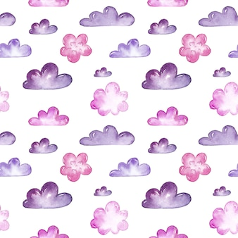 Padrão sem emenda de aquarela nuvens rosa e roxo