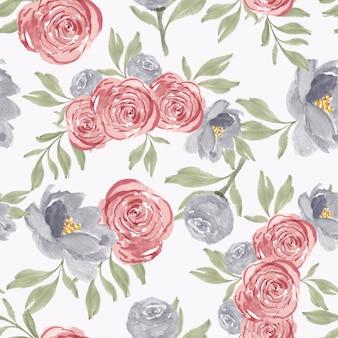 Padrão sem emenda de aquarela rosa peônia flor