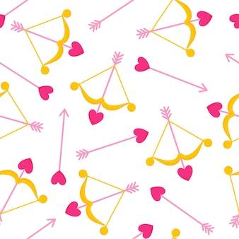 Padrão sem emenda de arco de cupido e flecha com coração para o casamento ou dia dos namorados.