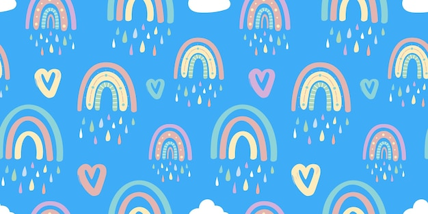 Padrão sem emenda de arco-íris e corações. ilustração vetorial