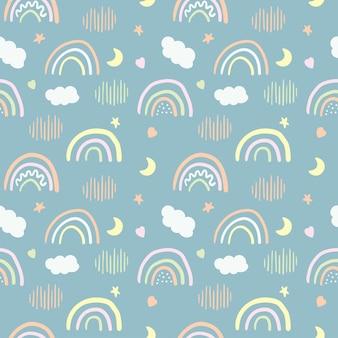 Padrão sem emenda de arco-íris fofo
