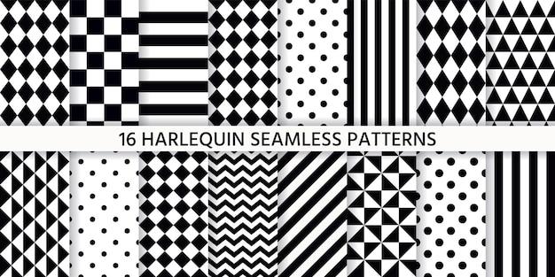 Padrão sem emenda de arlequim. planos de fundo pretos e brancos. texturas de circo. ilustração geométrica monocromática.