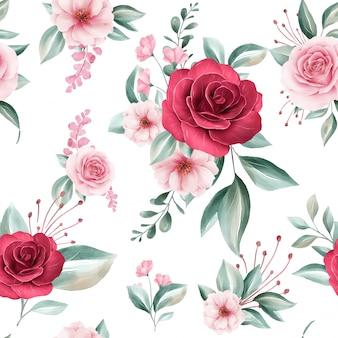 Padrão sem emenda de arranjos de flores em aquarela colorida sobre fundo branco para moda