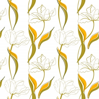 Padrão sem emenda de arte em linha de tulipa no estilo escandinavo