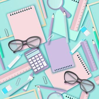 Padrão sem emenda de arte em papel de volta às aulas com calculadora de lápis e óculos e outros materiais escolares