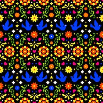 Padrão sem emenda de arte folclórica mexicana com flores, folhas e pássaros