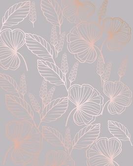 Padrão sem emenda de arte linha floral com formas de folhas