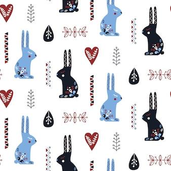 Padrão sem emenda de arte popular com coelho.
