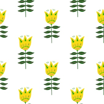 Padrão sem emenda de arte popular de flor amarela bonito isolado no fundo branco. Vetor Premium