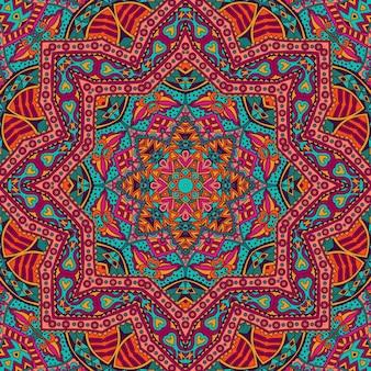 Padrão sem emenda de arte tribal boêmia. impressão geométrica étnica. textura de fundo de repetição colorida. tecido, embalagem de desenho de tecido