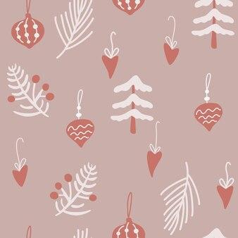 Padrão sem emenda de árvore e brinquedos de natal. feliz ano novo fundo com folhas de azevinho, frutos e galhos. férias de inverno de fundo vector em estilo escandinavo. para tecido, papel de embrulho, postal.