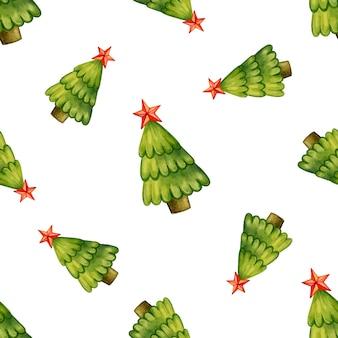 Padrão sem emenda de árvores de natal com estrelas em uma ilustração vetorial de fundo branco