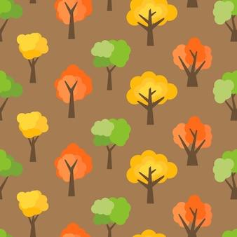 Padrão sem emenda de árvores de outono. fundo de floresta de outono. ilustração vetorial