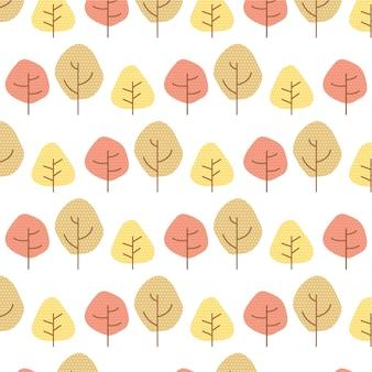 Padrão sem emenda de árvores de outono