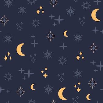 Padrão sem emenda de astrologia, lua celestial e estrelas, simples.