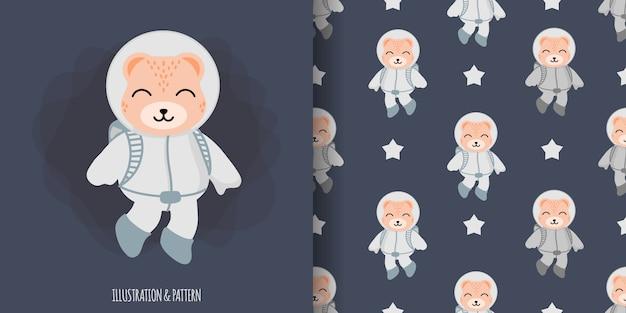 Padrão sem emenda de astronauta de urso animal bonito com cartão de chuveiro de bebê de ilustração dos desenhos animados