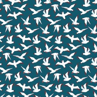 Padrão sem emenda de aves marinhas do atlântico a voar