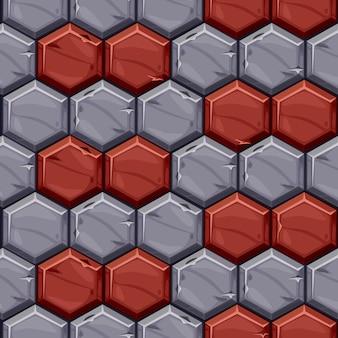 Padrão sem emenda de azulejos hexagonais de pedra vintage. fundo de pavimentação texturizado de telhas geométricas brilhantes.