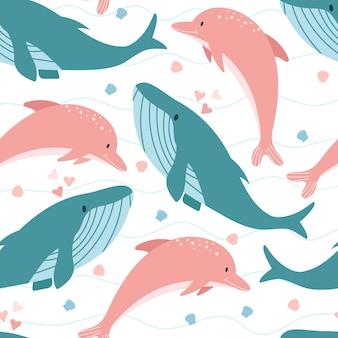 Padrão sem emenda de baleia e golfinho
