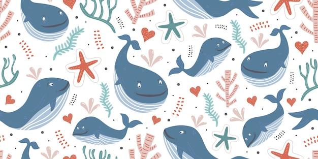 Padrão sem emenda de baleias com tema oceano para impressão de bebê