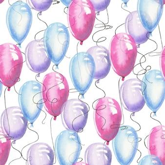 Padrão sem emenda de ballons de ar aquarela
