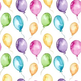 Padrão sem emenda de balões coloridos em aquarela