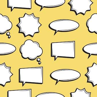 Padrão sem emenda de balões de fala em quadrinhos