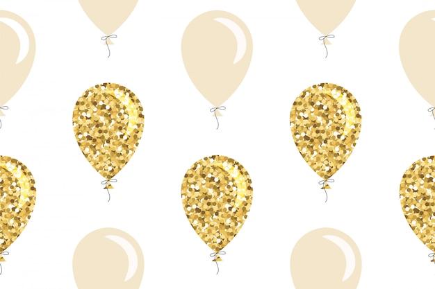 Padrão sem emenda de balões de glitter dourados.