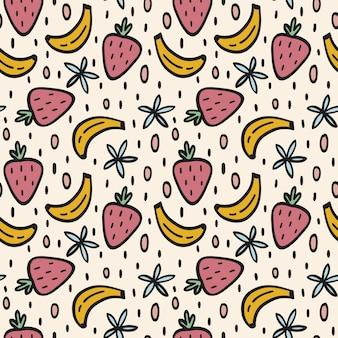 Padrão sem emenda de bananas e morangos
