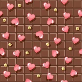 Padrão sem emenda de barra de chocolate com corações e bolinhas brilhantes