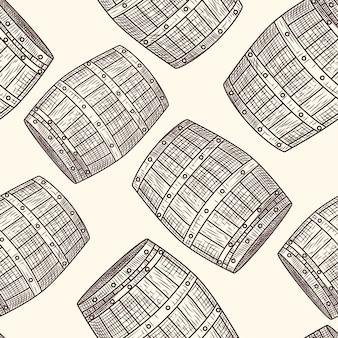 Padrão sem emenda de barril de madeira desenhada de mão. estilo de gravura. papel de embrulho para álcool. ilustração vetorial