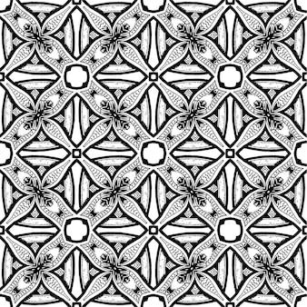 Padrão sem emenda de batik em preto e branco, o batik indonesian é uma técnica de tingimento com resistência a cera aplicada a todo o tecido