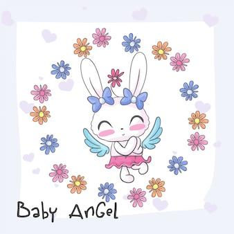 Padrão sem emenda de bebê coelho anjo bonito