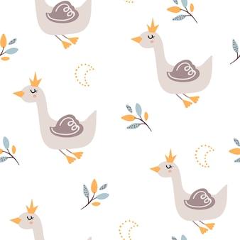 Padrão sem emenda de bebê com cisnes fofos