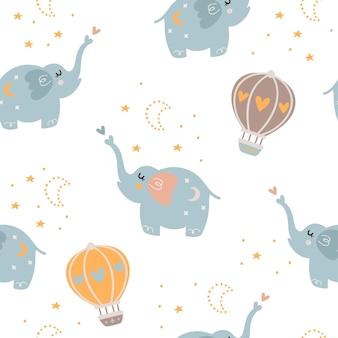 Padrão sem emenda de bebê com elefantes fofos