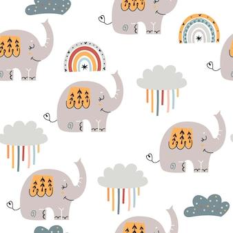 Padrão sem emenda de bebê com elefantes