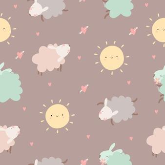 Padrão sem emenda de bebê fofo com ovelhas e sol