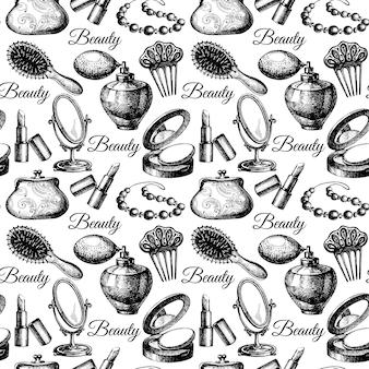 Padrão sem emenda de beleza. acessórios cosméticos. ilustrações vintage mão desenhada esboço