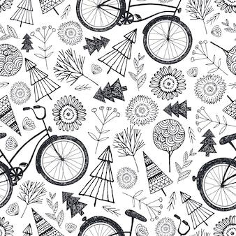 Padrão sem emenda de bicicleta com árvores, flores, flores. preto e branco, fundo de doodle desenhado à mão