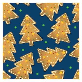 Padrão sem emenda de biscoitos de gengibre de árvore de natal