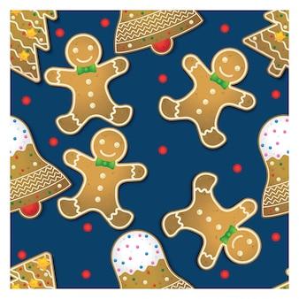 Padrão sem emenda de biscoitos de gengibre
